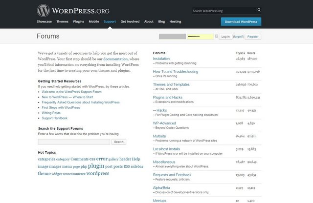 WordPress.org forum page