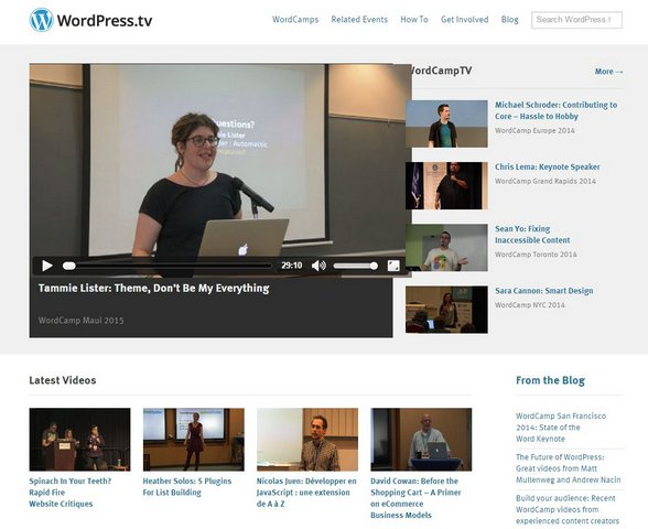 WordPress.tv front page